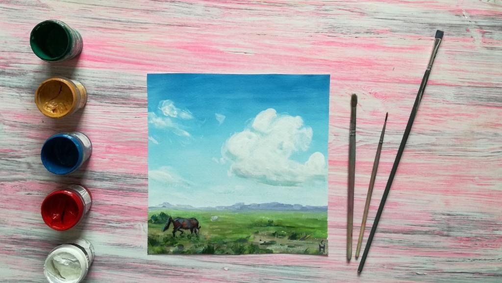 Как нарисовать пейзаж гуашью. Пошаговый урок для начинающих   577x1024
