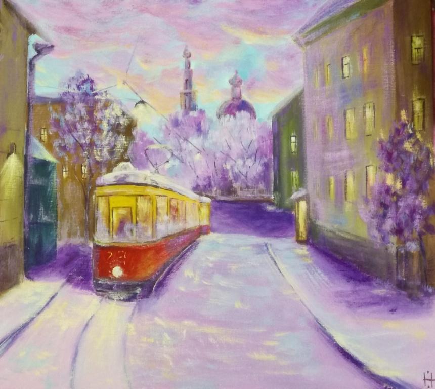 Трамвай в вечернем городе