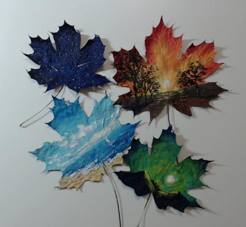 Рисуем на кленовых листьях