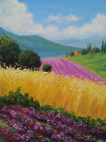 Пейзаж с цветами и пшеницей