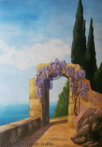 Пейзаж с кипарисами