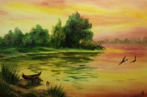 Letniy vecher na beregu reki