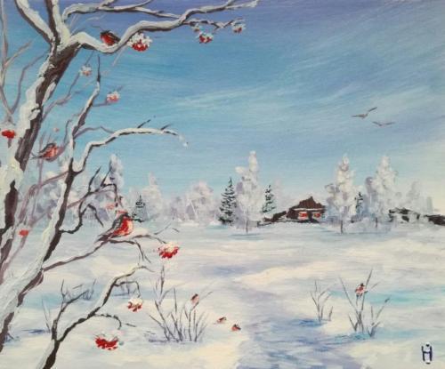 Zimniy peizazh so snegiryami Gouash